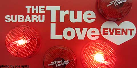 2015 Subaru True Love Event with free round flashing True Love belt clip lights, at subaru dealers while while supplies last